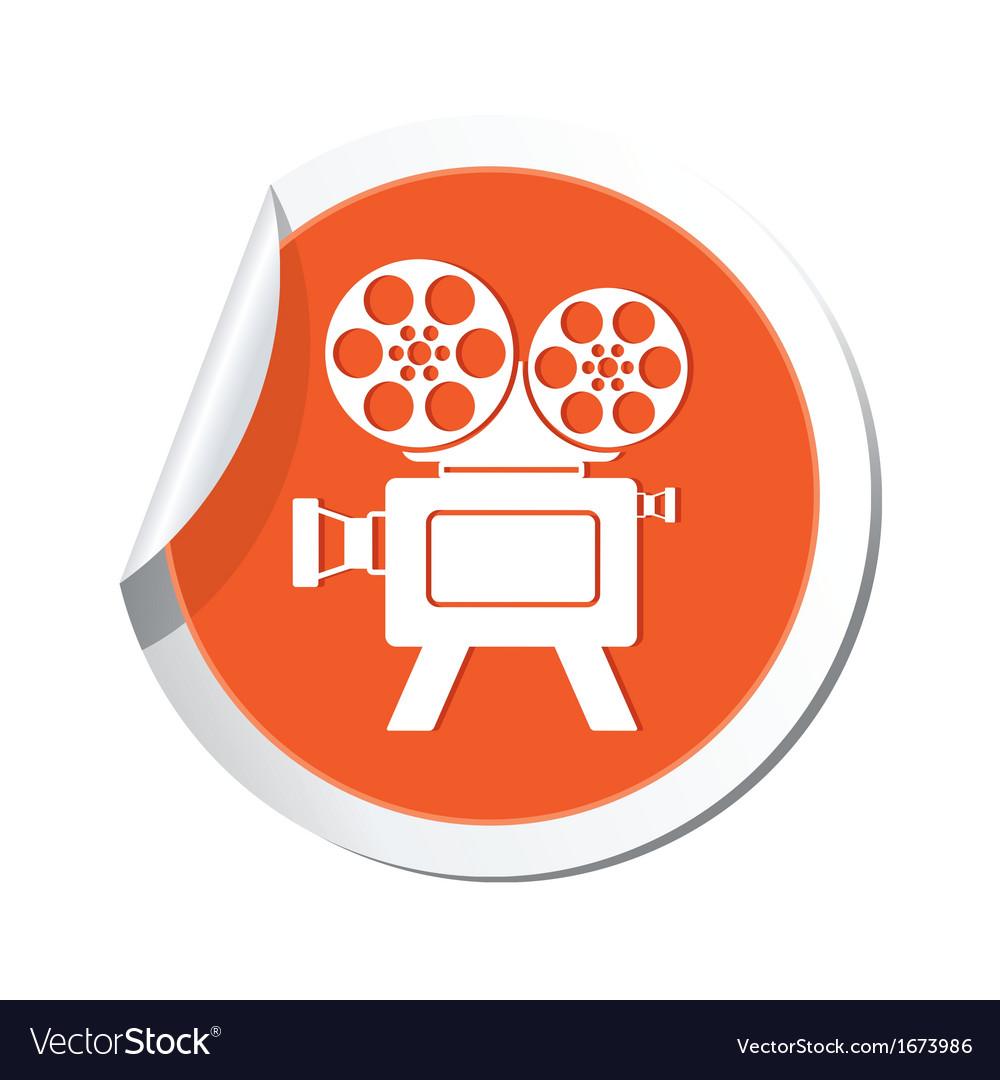 Cinema icon orange sticker