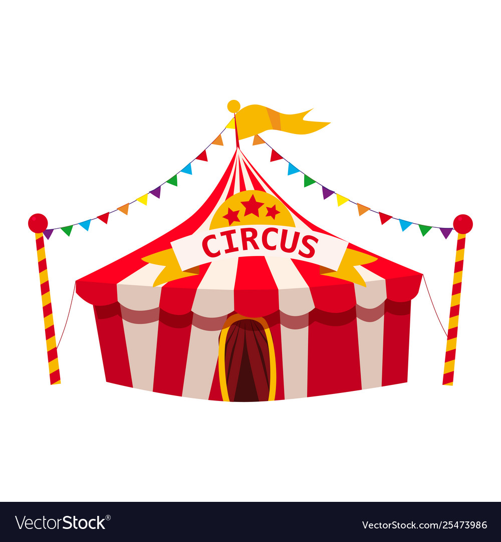 Circus tent awning red and white stripes