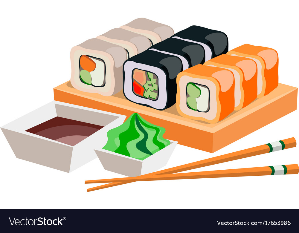 Different sushi isolated on white background