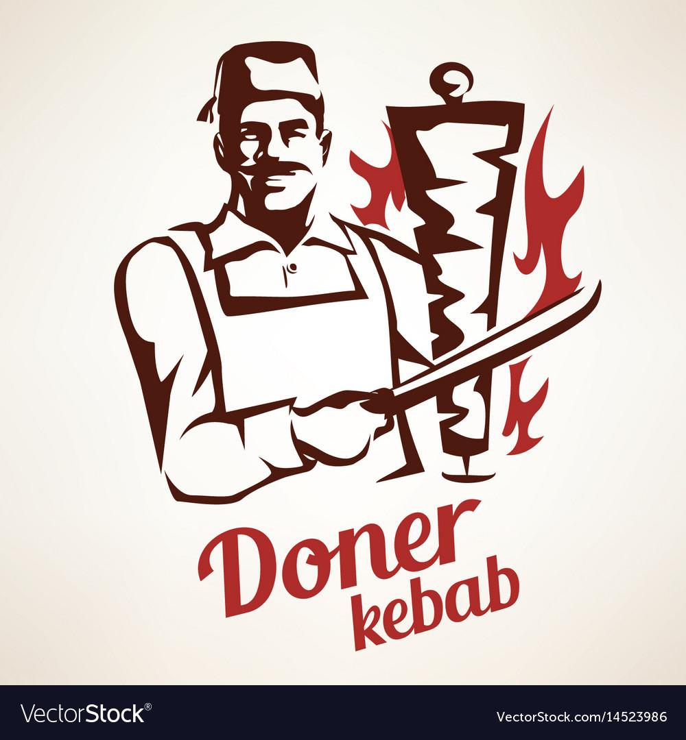 Doner kebab outlined symbol in vintage style