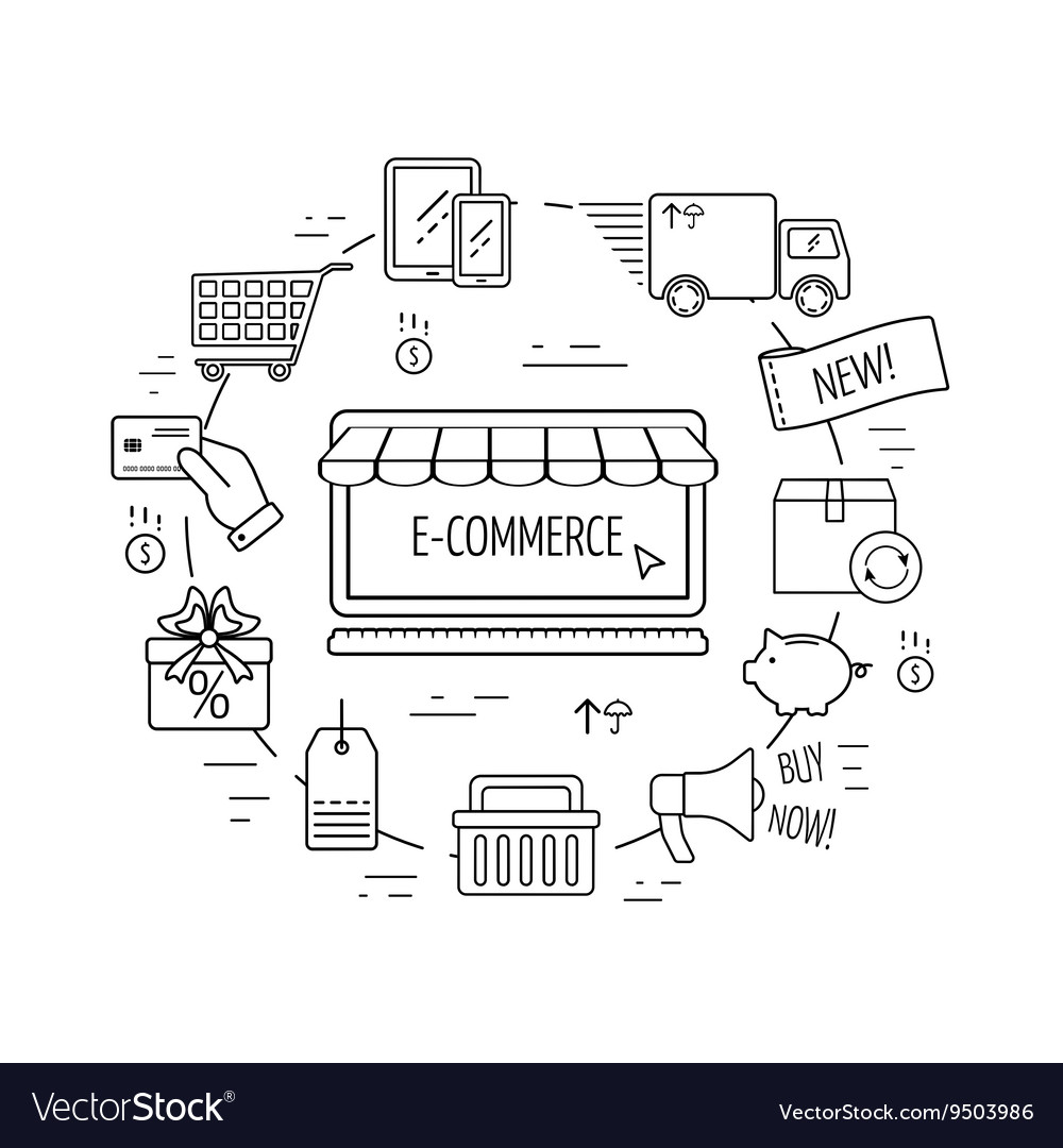 E-commerce line concept Line icons for business