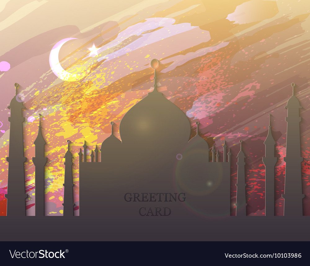 Eid al fitr card - watercolor mosque