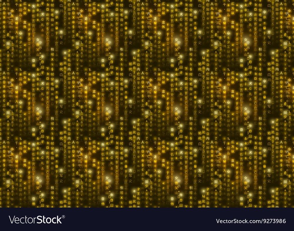 Golden matrix symbols digital binary code on