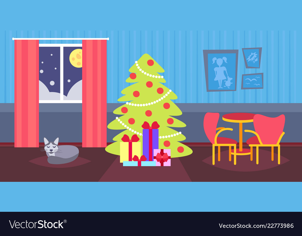 Night living room decorated merry christmas happy