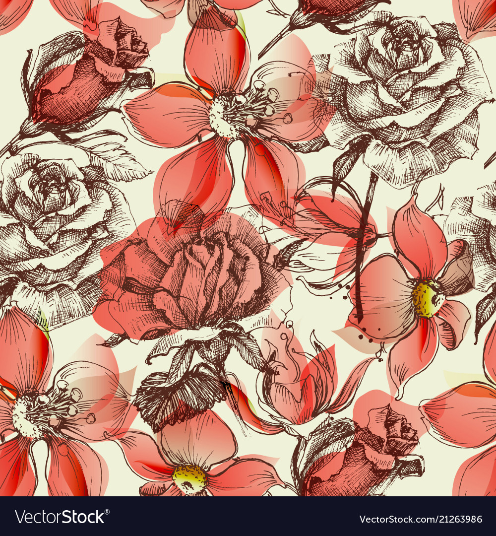 Red roses seamless pattern retro style