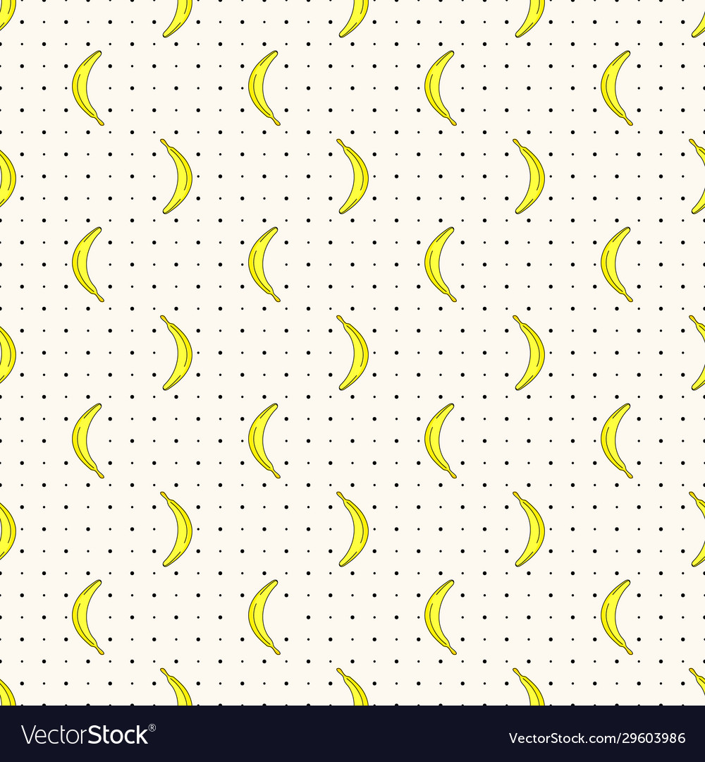 Seamless pattern with bananas and polka