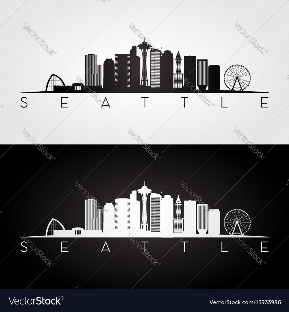 Seattle usa skyline and landmarks silhouette