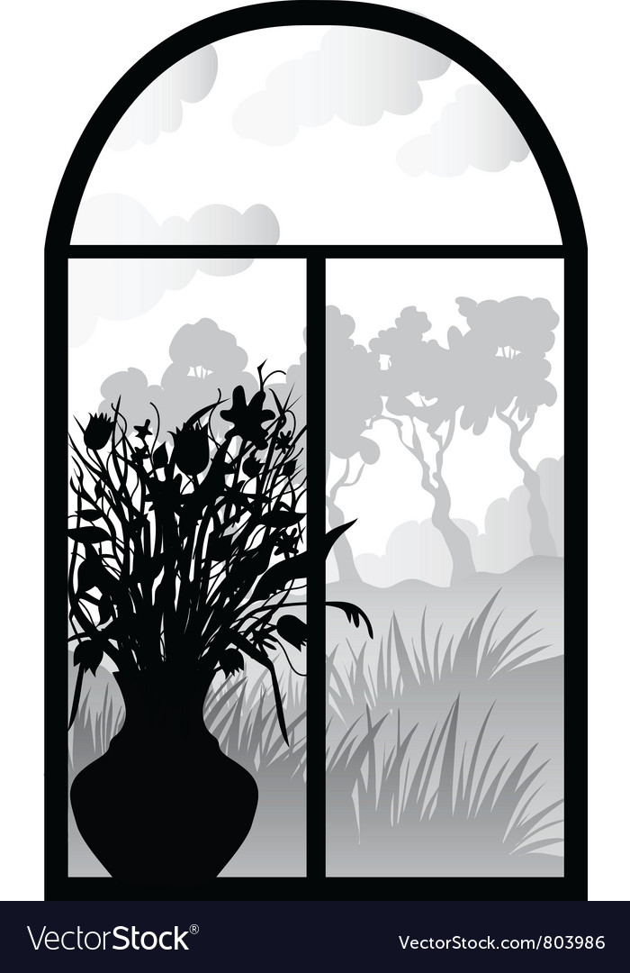 Silhouette of retro window