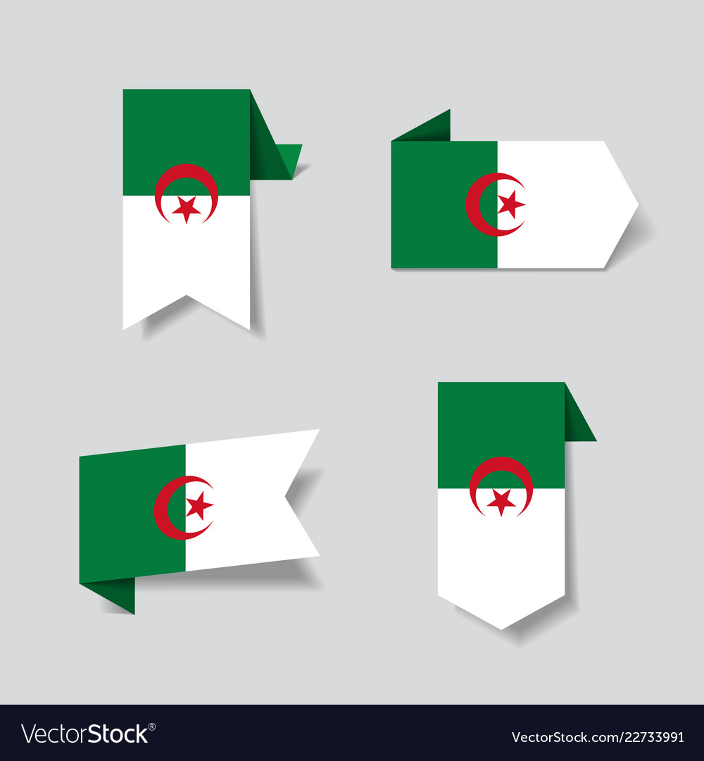 Algerian flag stickers and labels