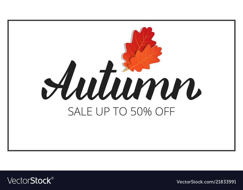 Autumn banner with brush lettering autumn and oak