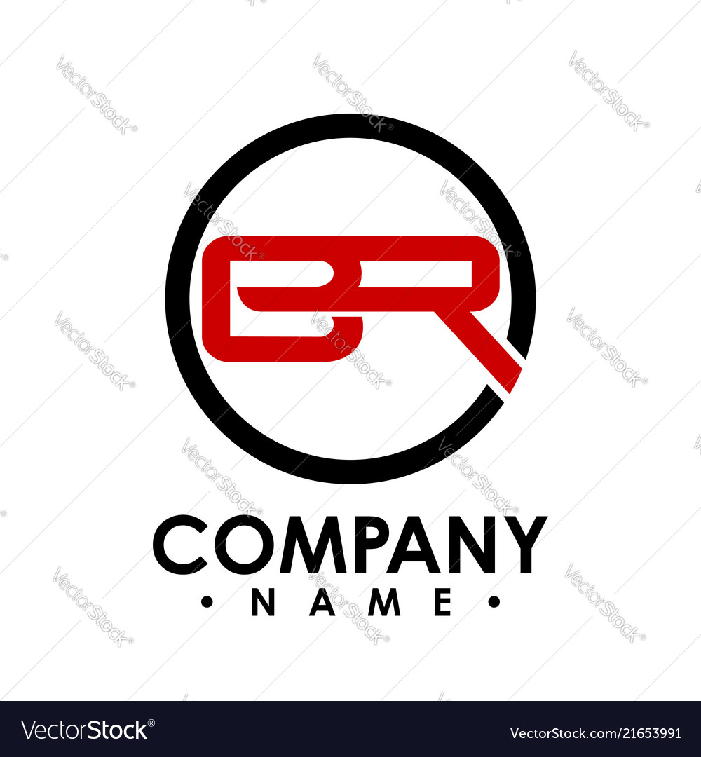 br letter with circle shape logo design template vector image