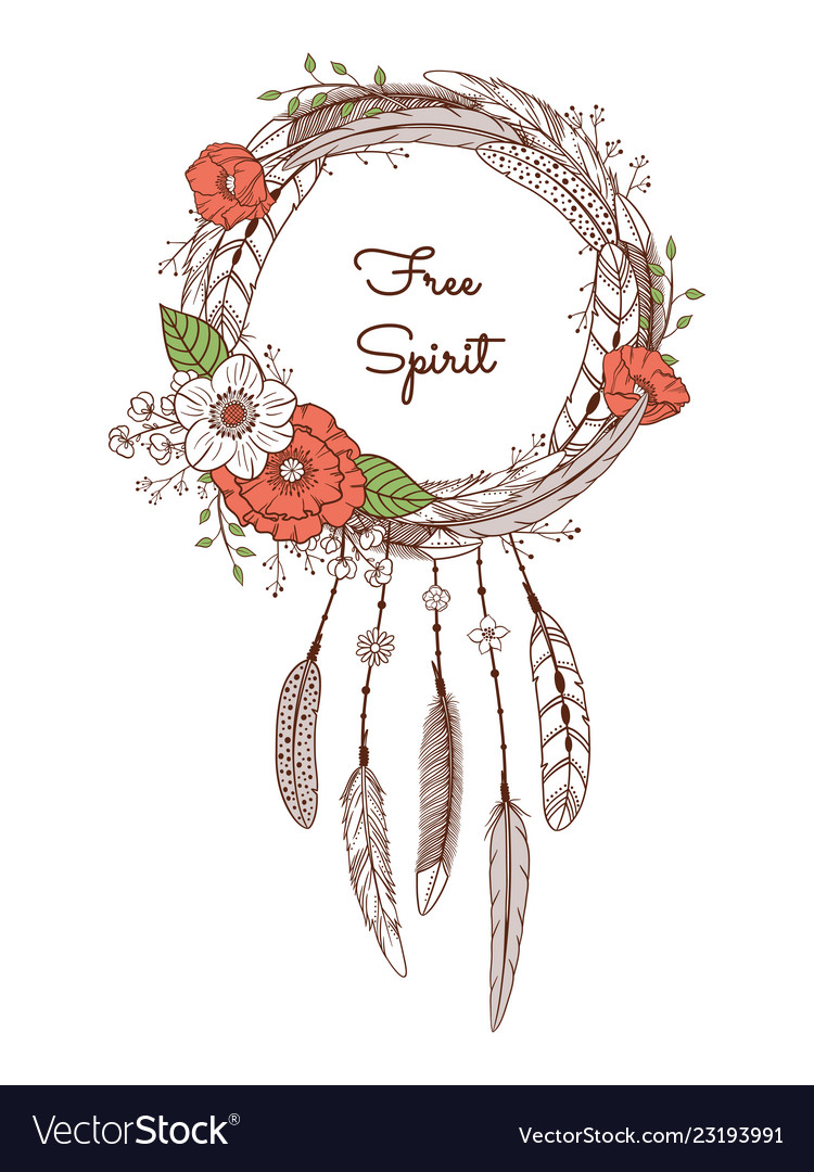 Dream catcher with feathers and flowers