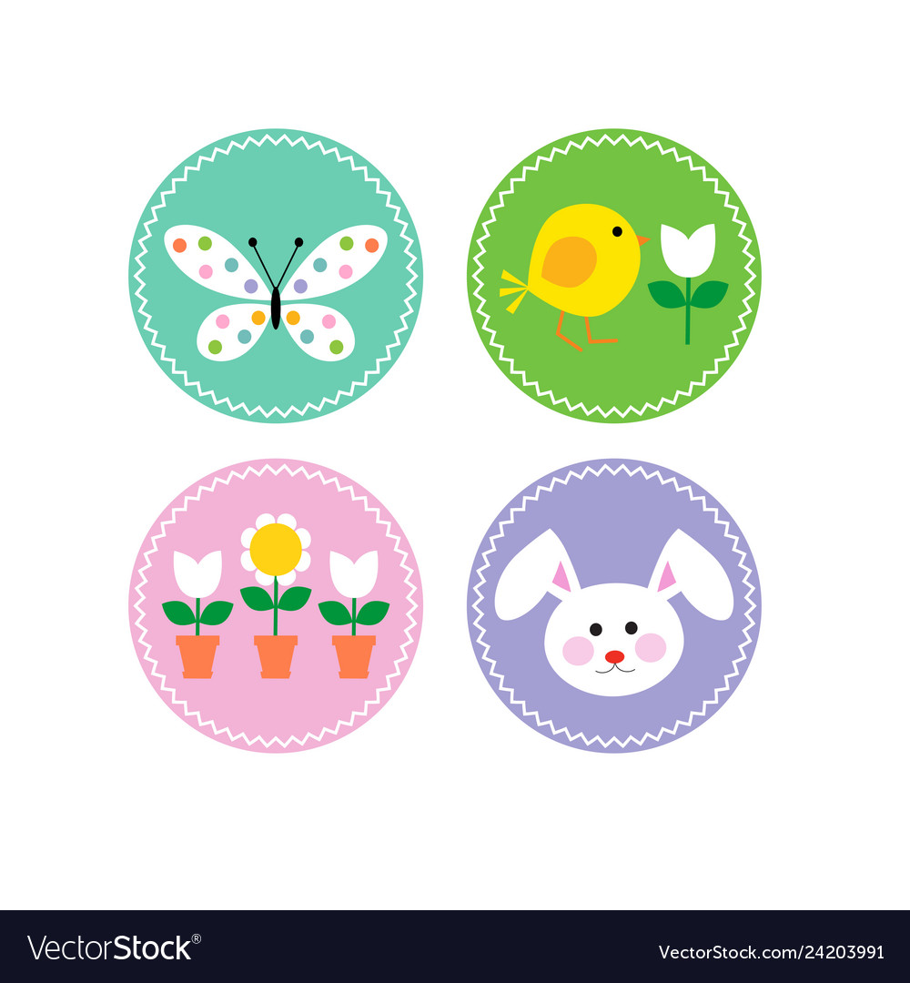 Easter circle icons with bunny chick and flowers