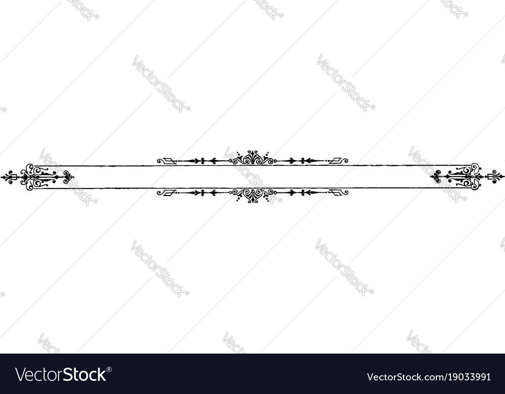 filigree banner is a dark line border vintage vector image