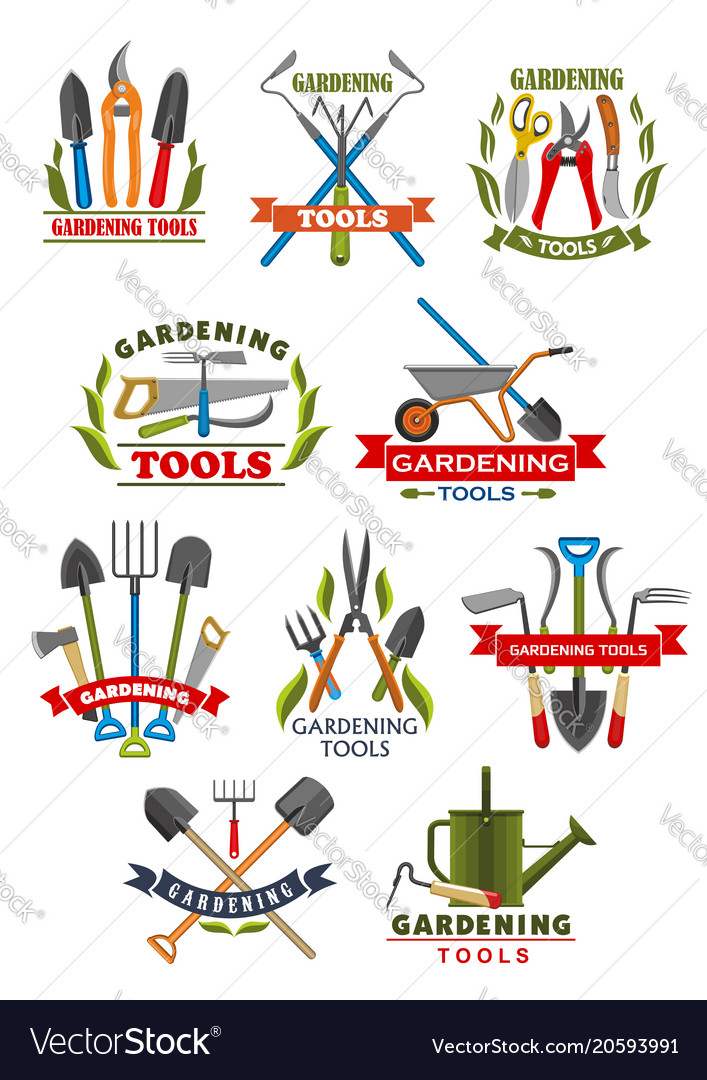 Gardening tool badge with instrument and equipment vector image