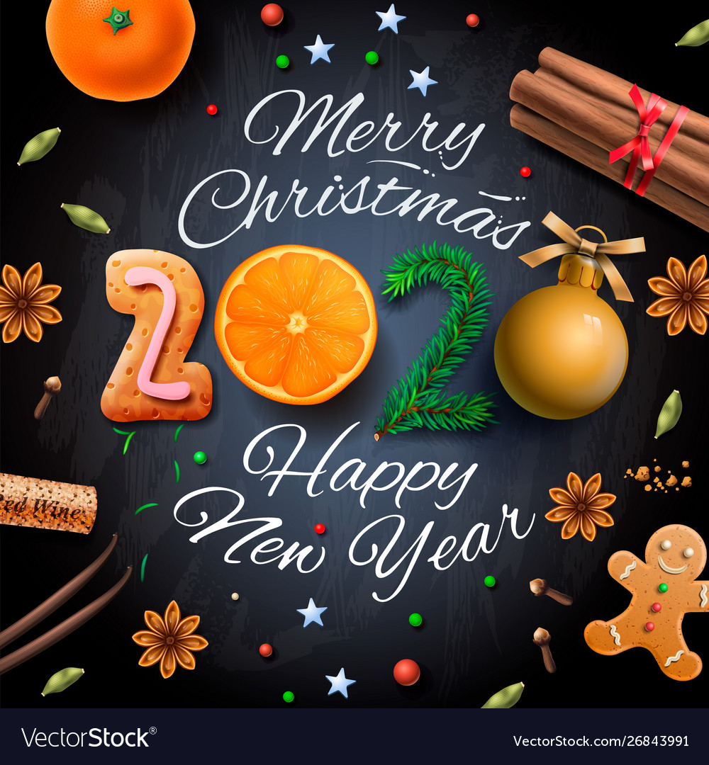 Merry Christmas And Happy New Year 2020 Merry christmas happy new year 2020 background Vector Image