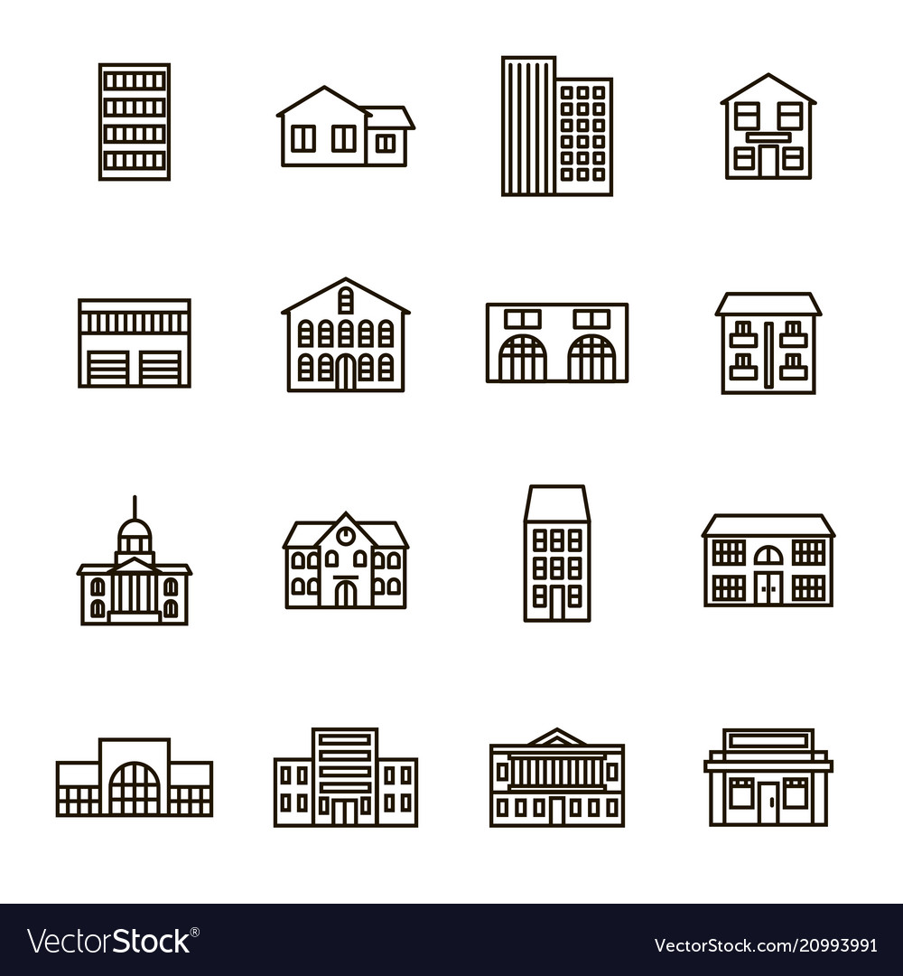 Property house signs black thin line icon set
