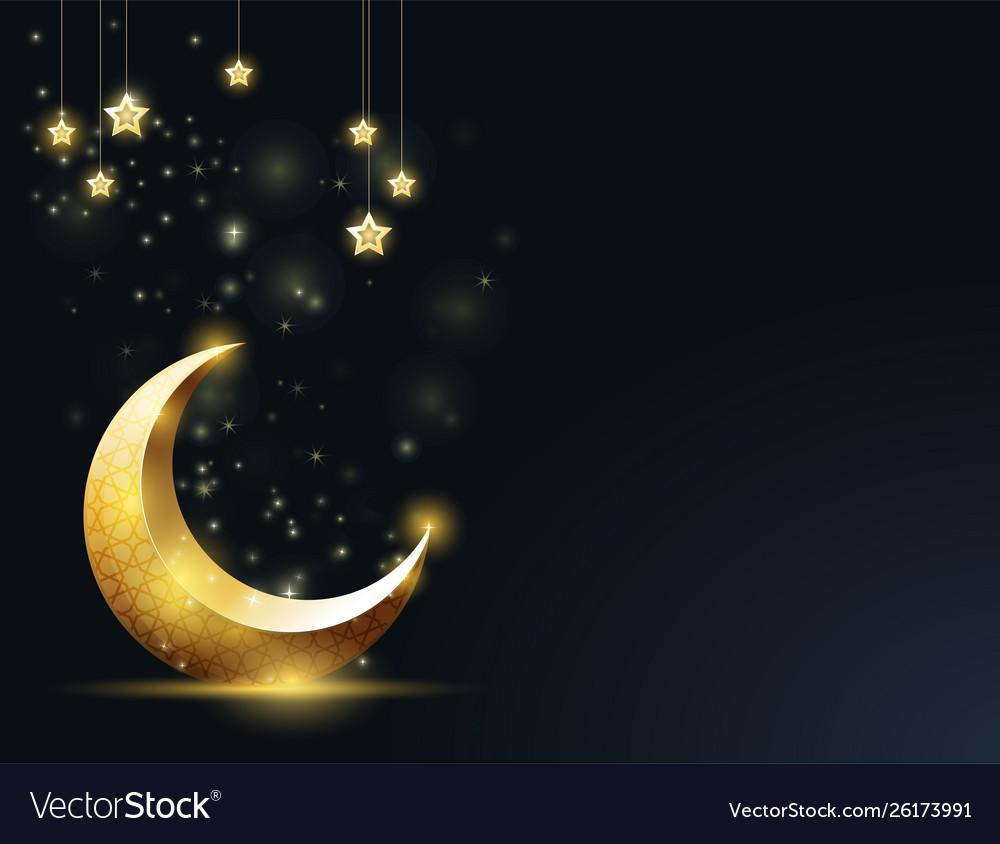 Ramadan kareem greeting card - crescent and