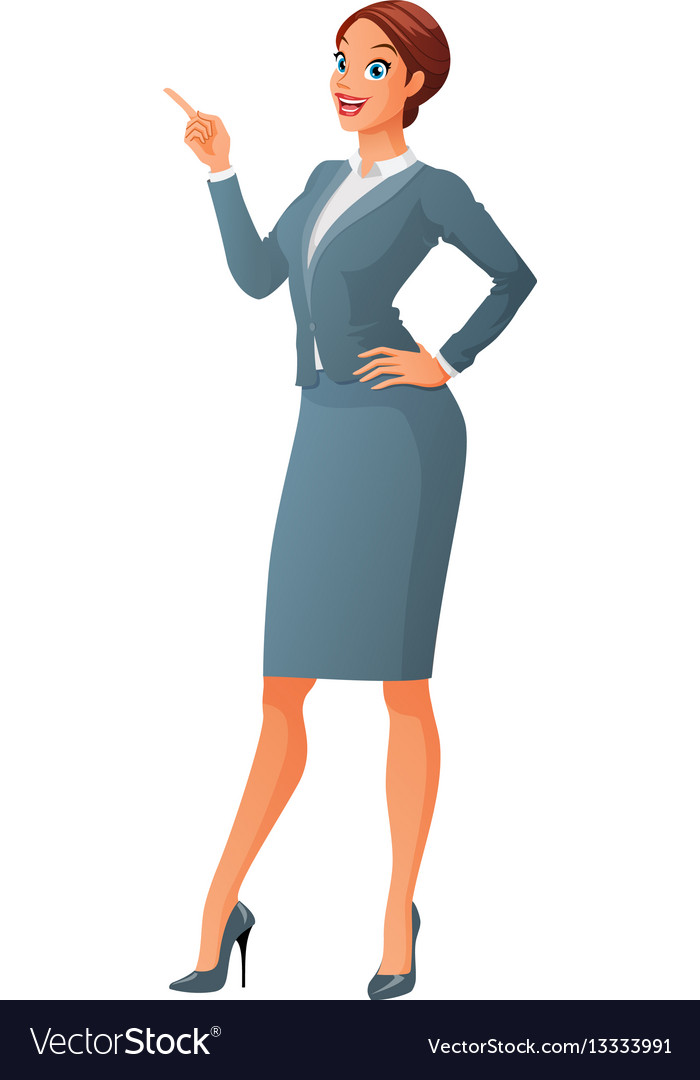 Smiling business woman with finger point up