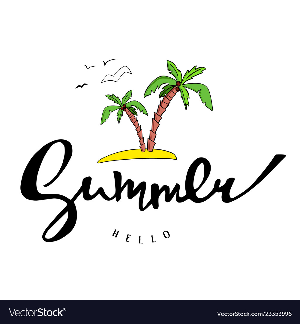 Bright poster with hand lettering hello summer