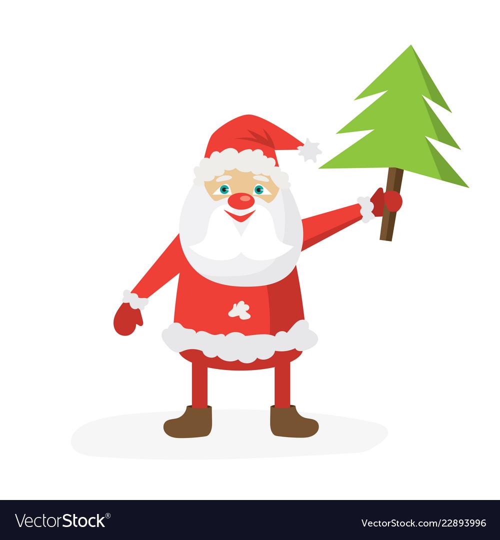 Cartoon santa in red hat holding christmas tree
