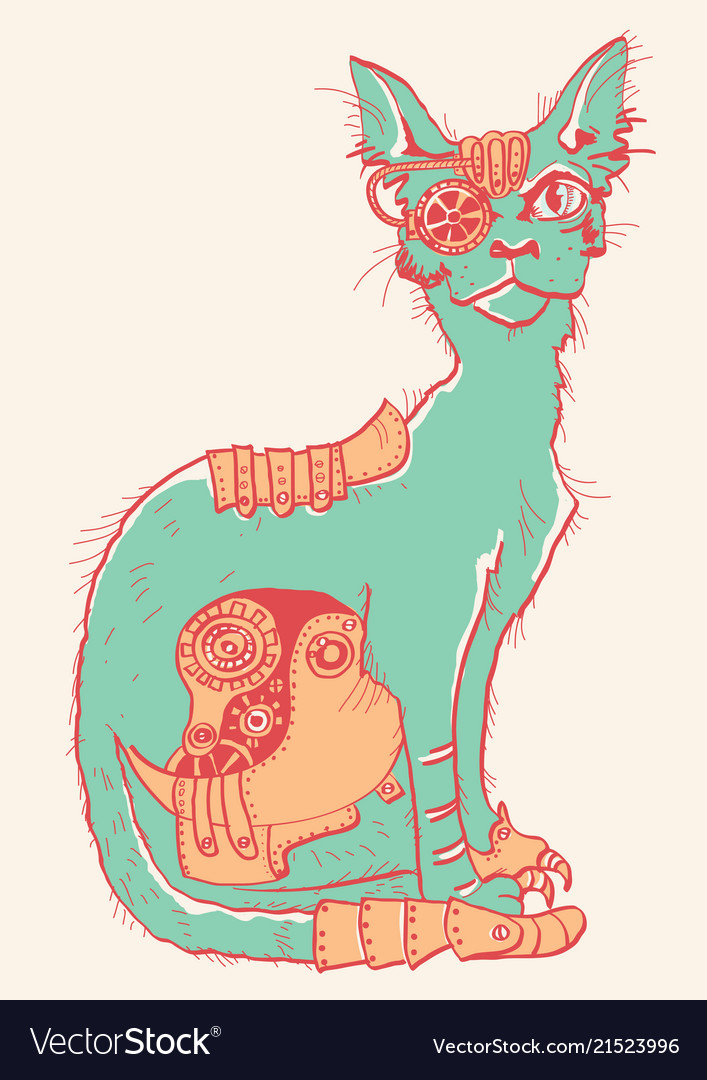 Cat with mechanical parts of body hand drawn