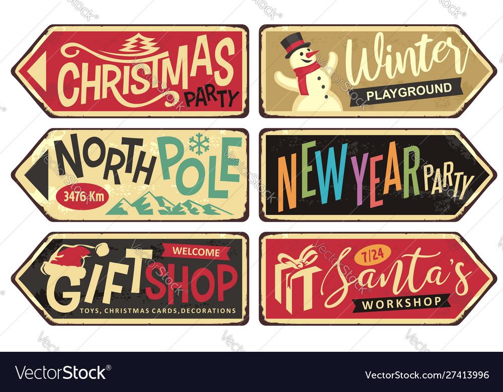 Collection holiday christmas sign posts