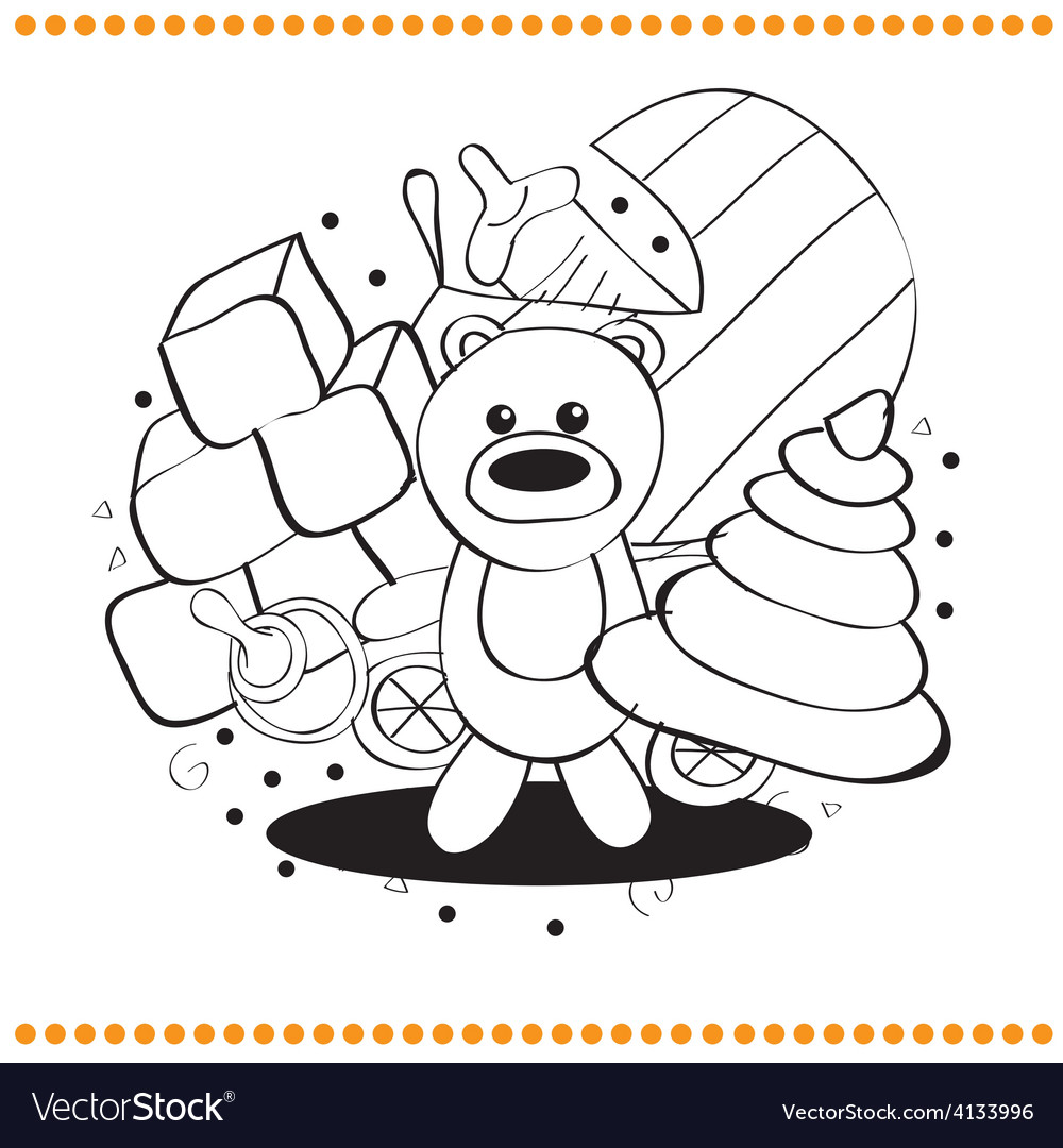 Coloring book toys vector image