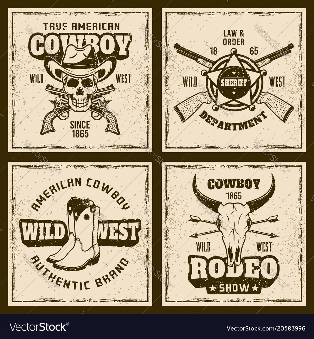 Cowboy and rodeo four colored vintage emblems vector image