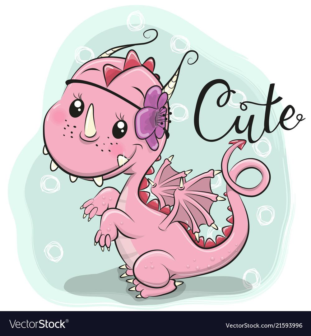 Cute cartoon dragon on a blue background