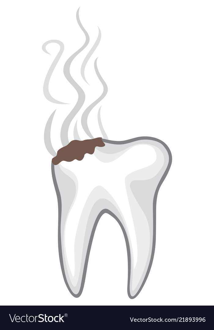 Damaged or unhealthy human tooth with caries and b