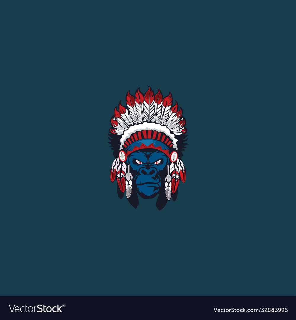 Gorilla head wig ethnic mask logo