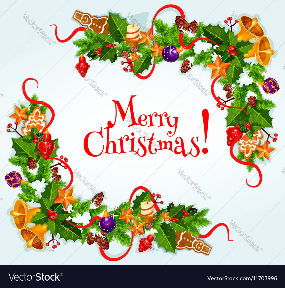 Merry Christmas poster Garland frame Royalty Free Vector