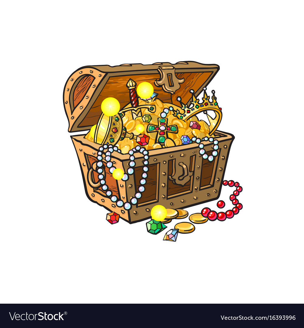 Opened treasure chest full of golden coins vector image