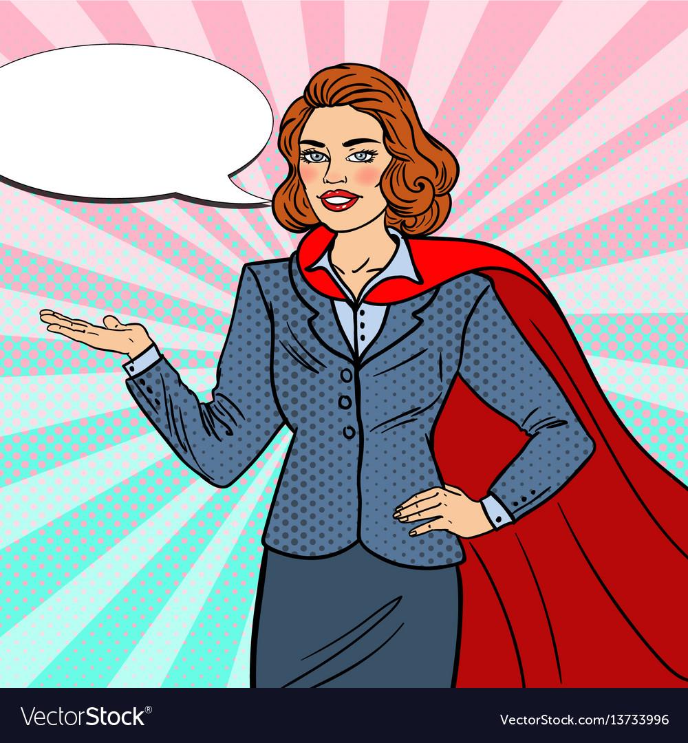 Pop art super businesswoman in red cape vector image
