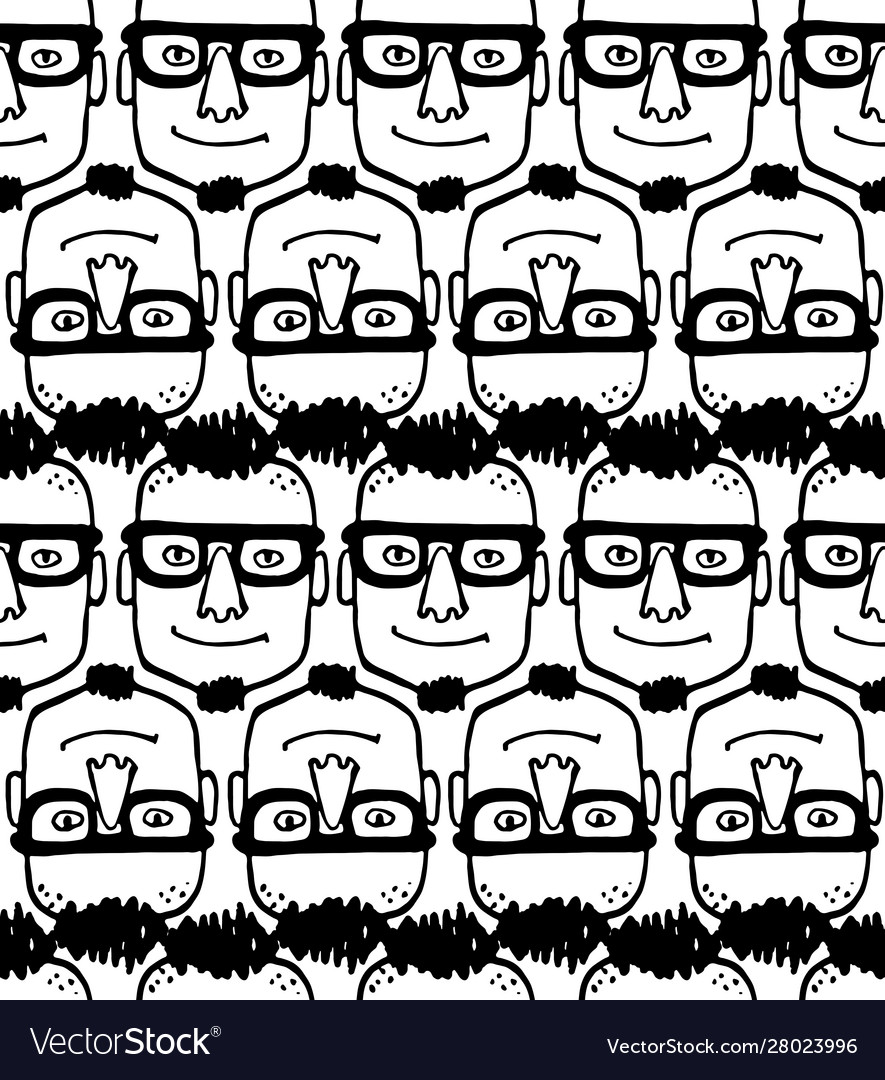 Seamless pattern with hipster face