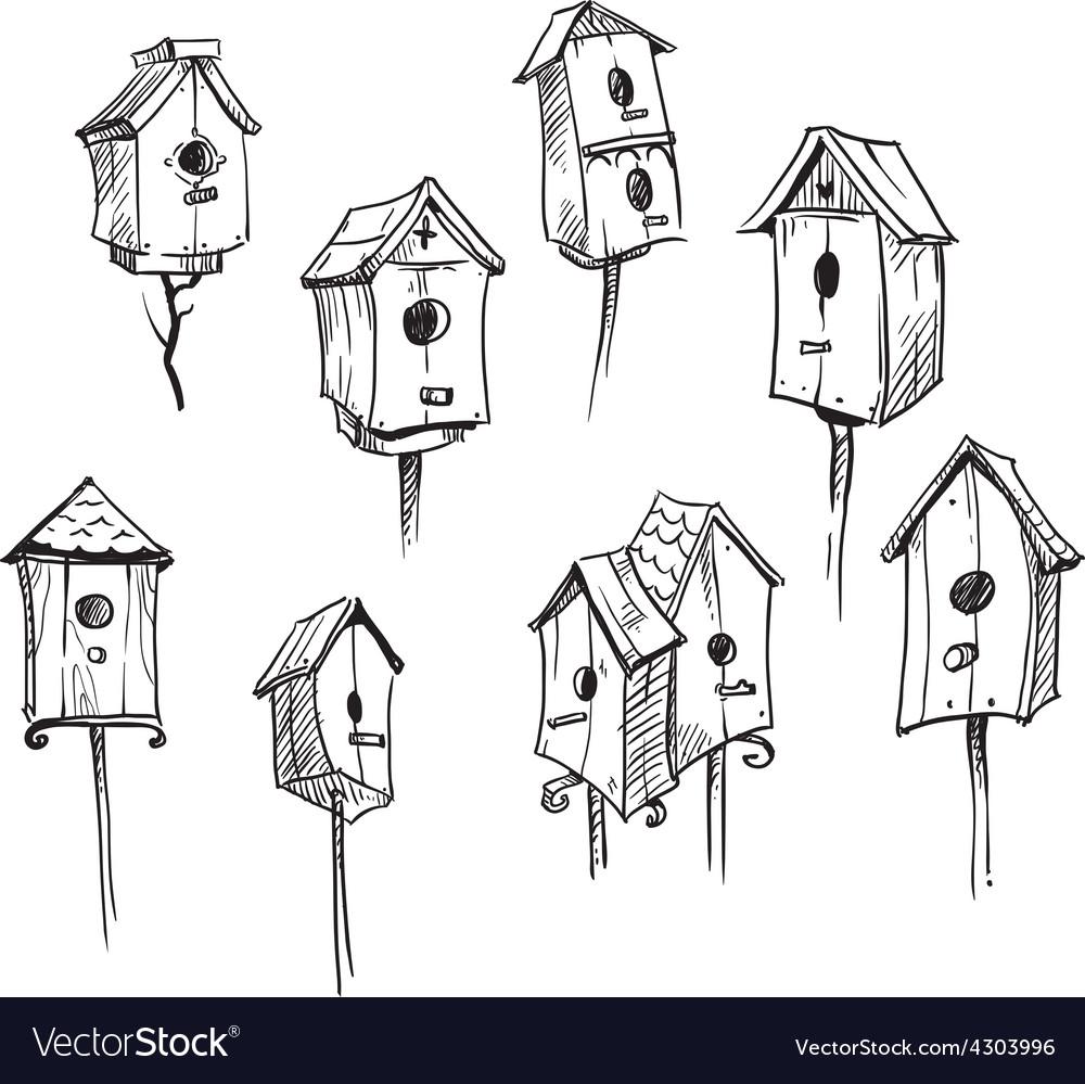 Set of hand drawn bird houses