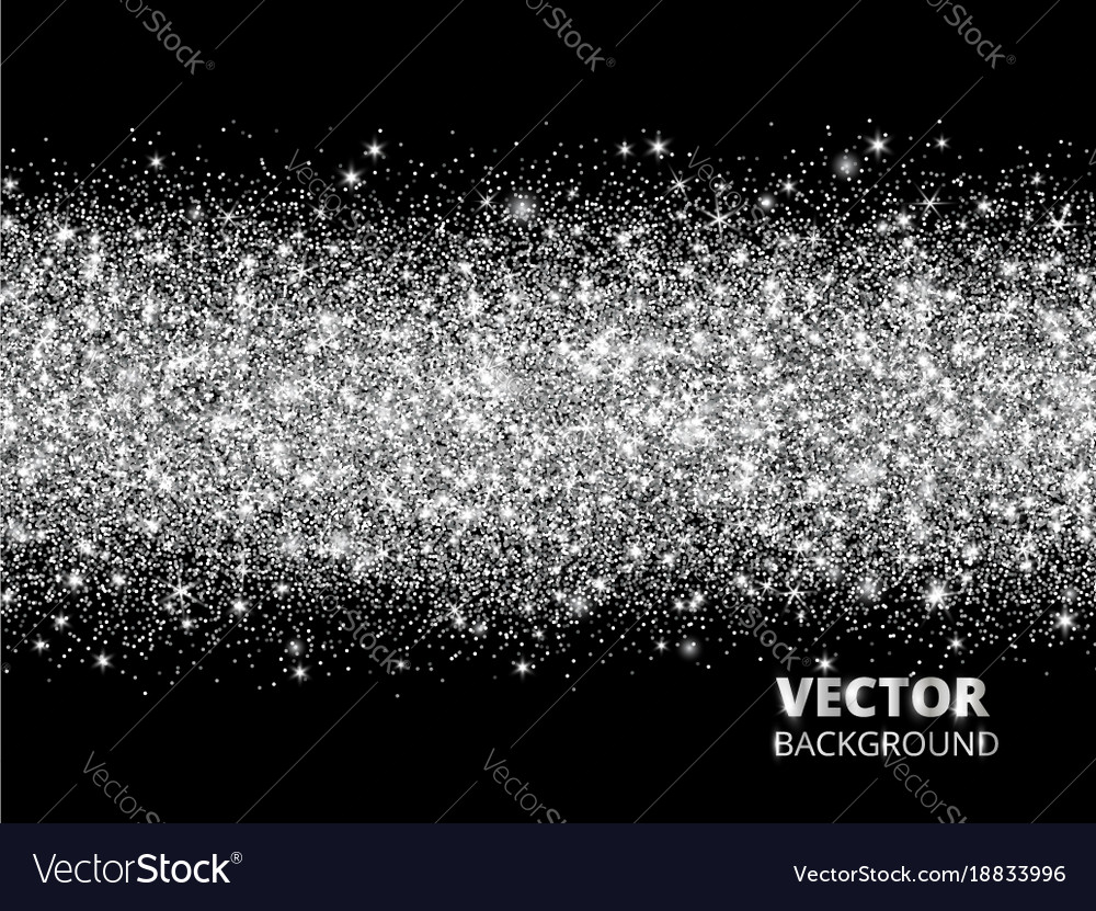 Sparkling glitter border on black background vector image