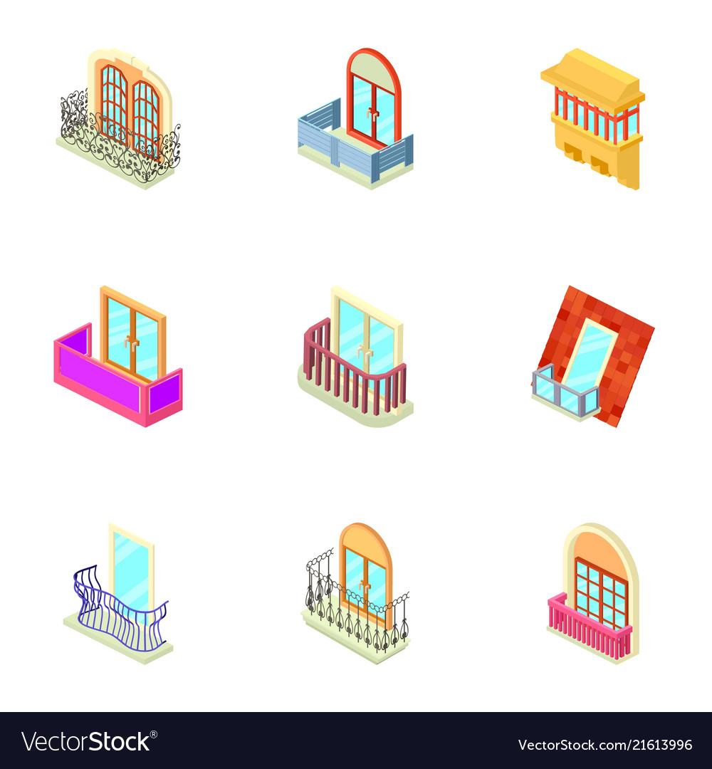 Window throttle icons set isometric style