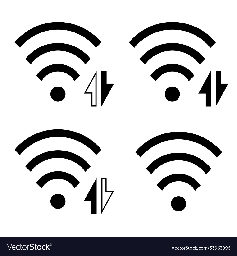 Wireless icon set collection wi-fi symbol sign