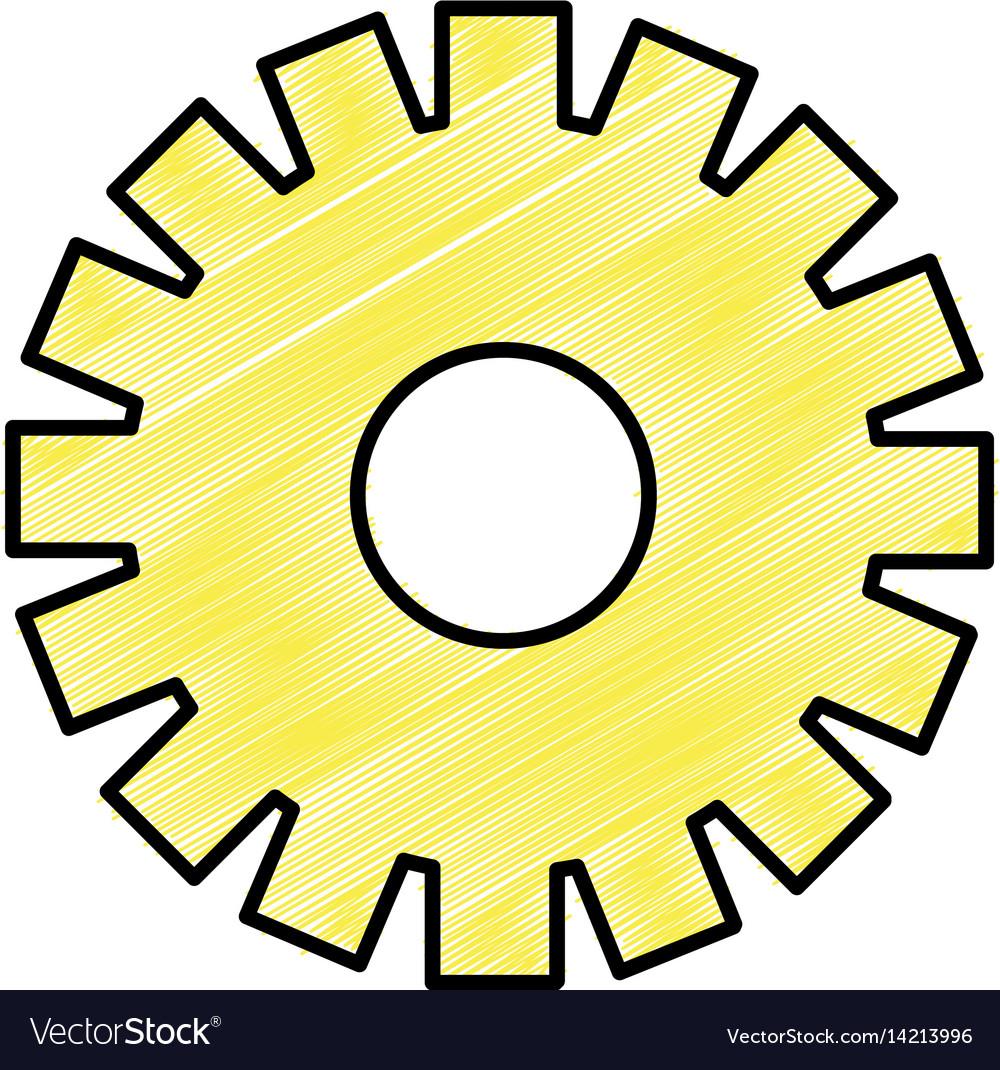 Yellow gear symbol process industry vector image