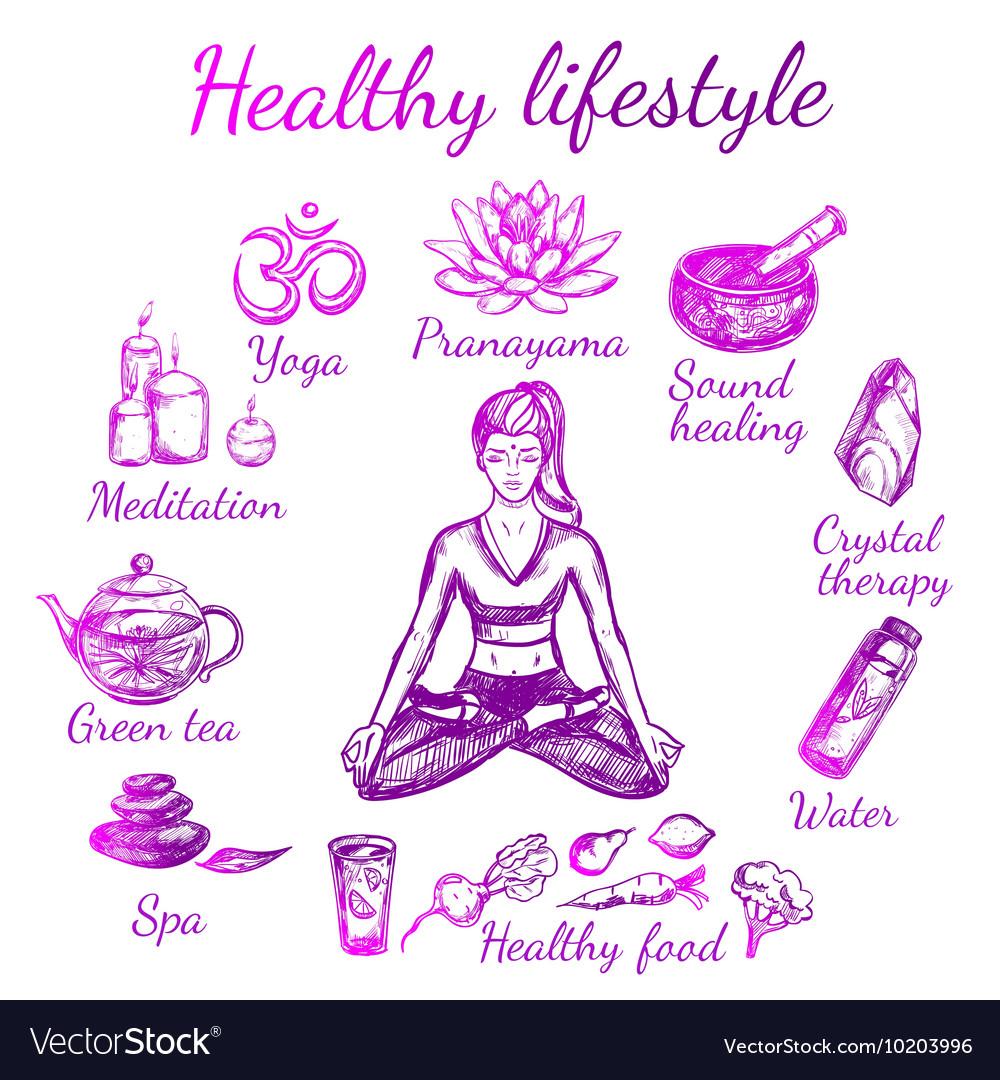 Yoga Sketch Lifestyle Composition