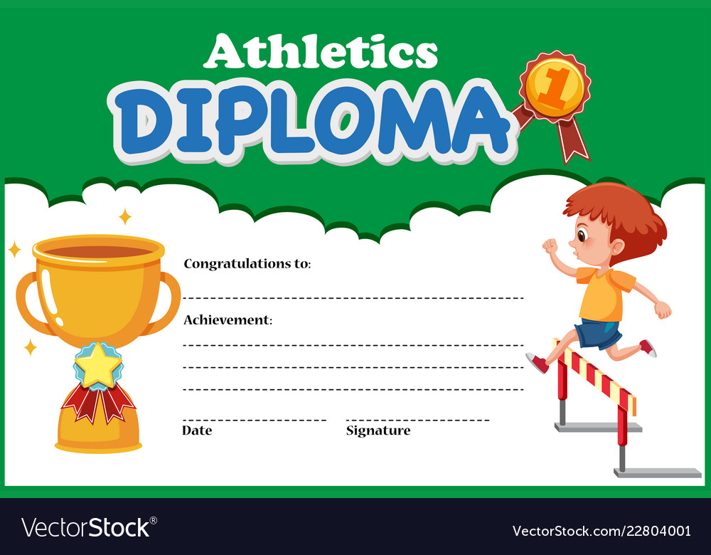 athletics diploma certificate template royalty free vector