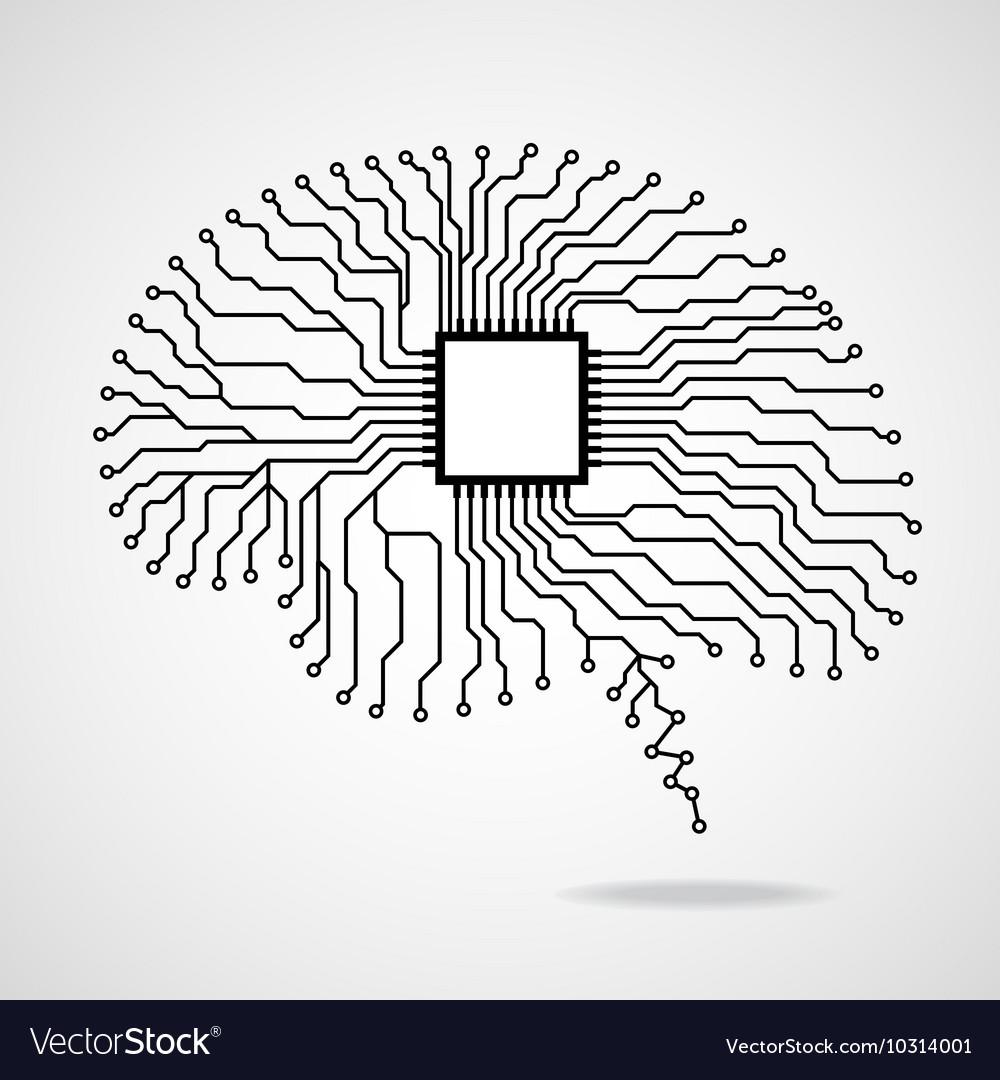 Brain Cpu Circuit Board Royalty Free Vector Image Diagram