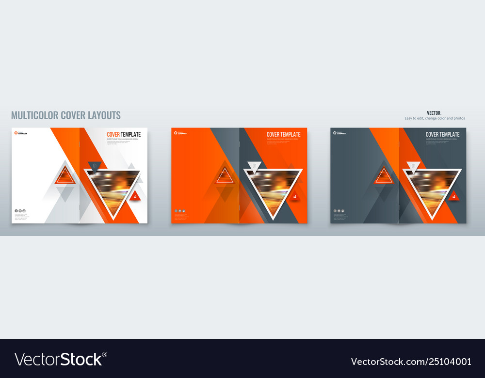 Brochure template layout design with triangles