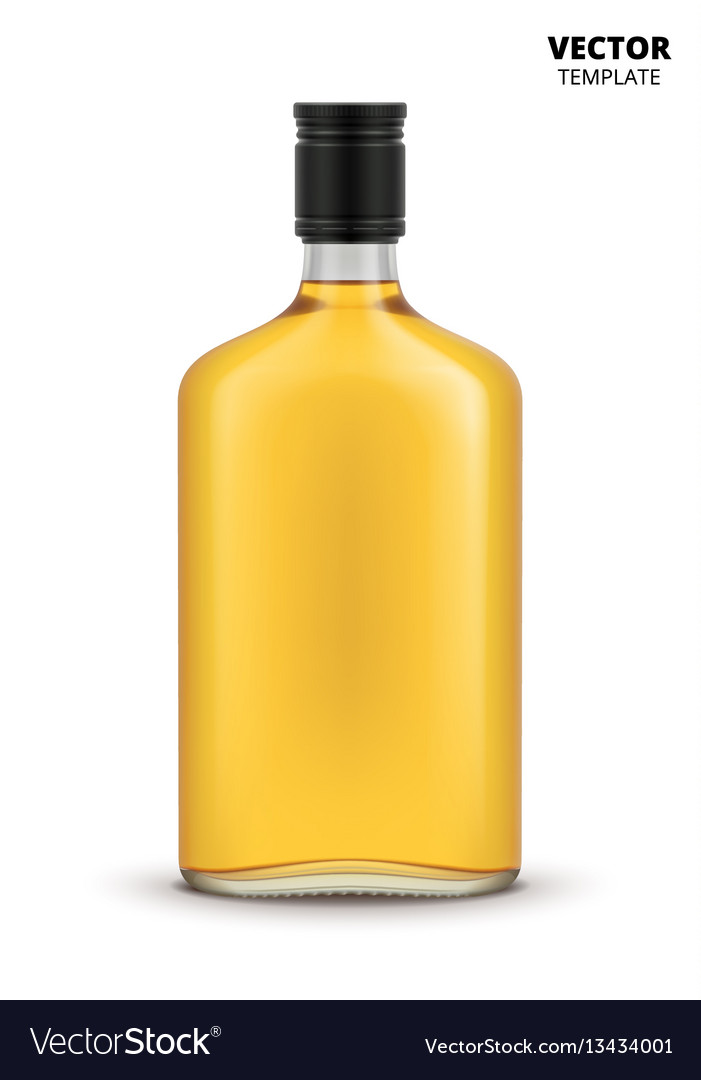 Cognac whiskey or brandy bottle isolated