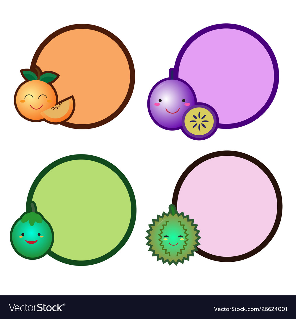Cute fruit with a circle banner