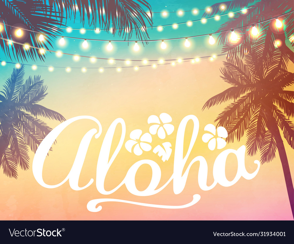Decorative holiday lights background in beach
