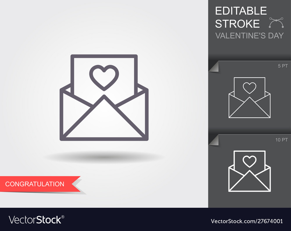 Envelope with heart line icon with editable