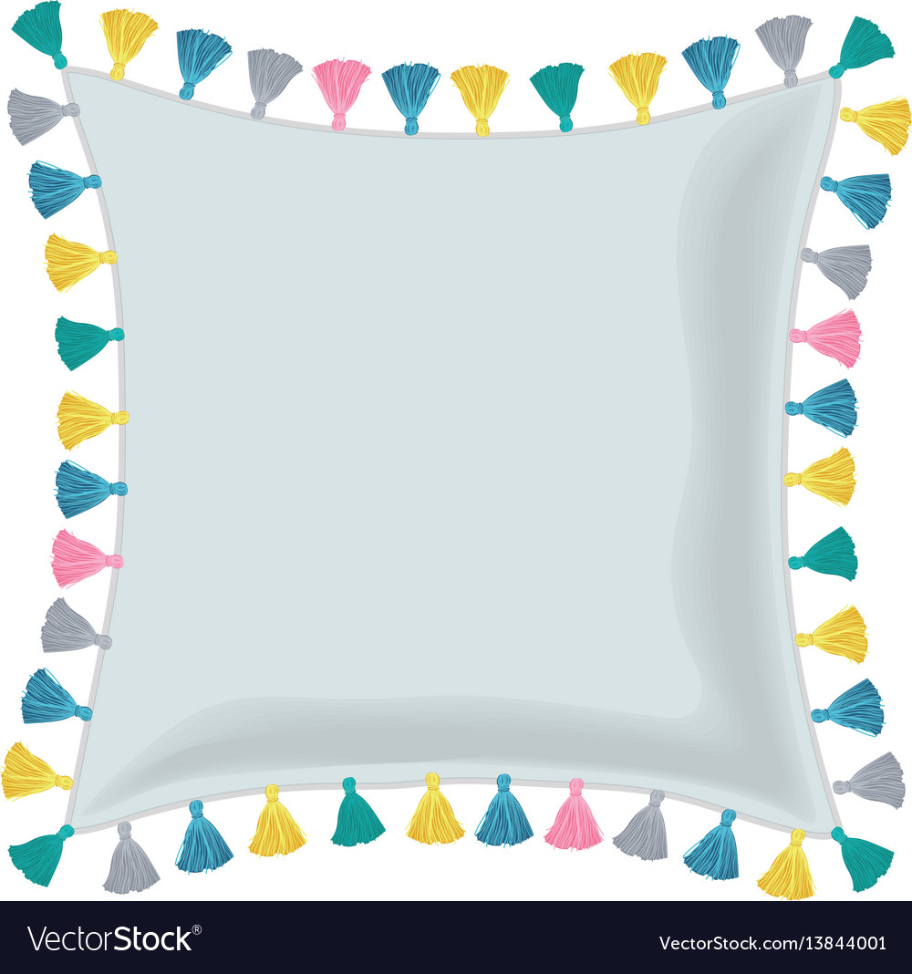 Grey pillow decorated with colorful